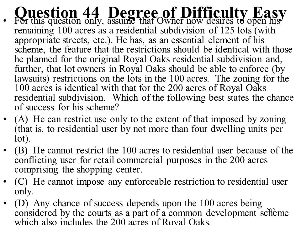 Question 44 Degree of Difficulty Easy