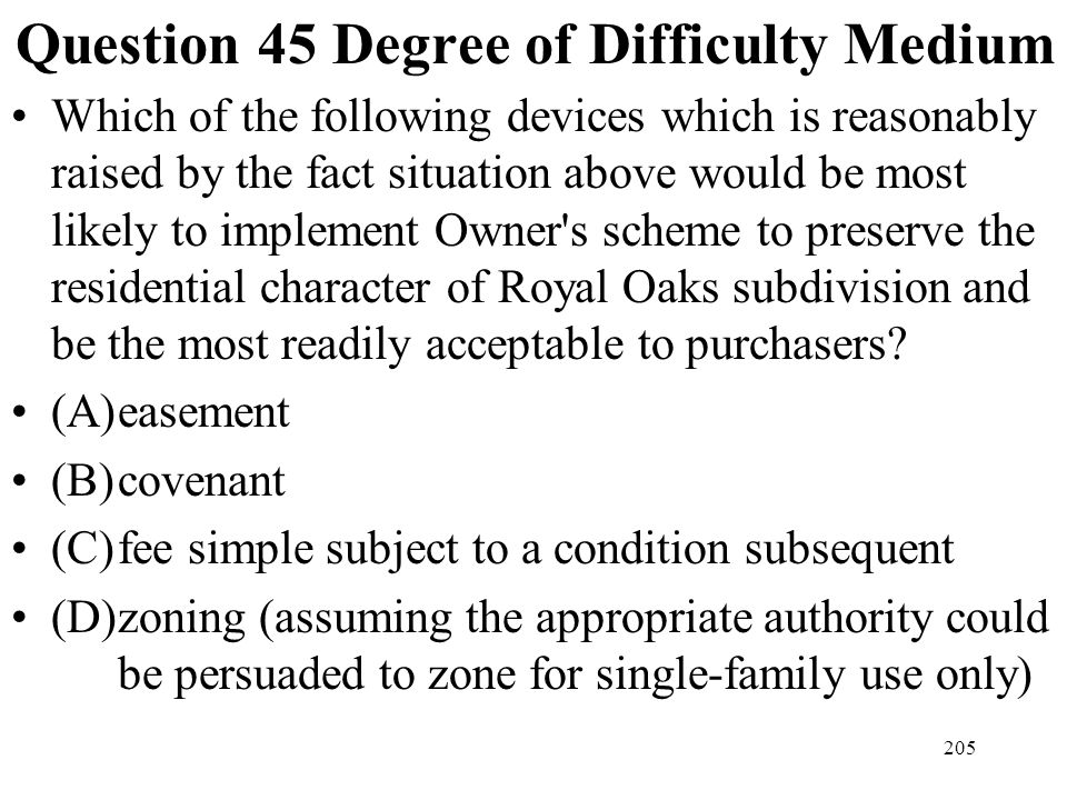 Question 45 Degree of Difficulty Medium