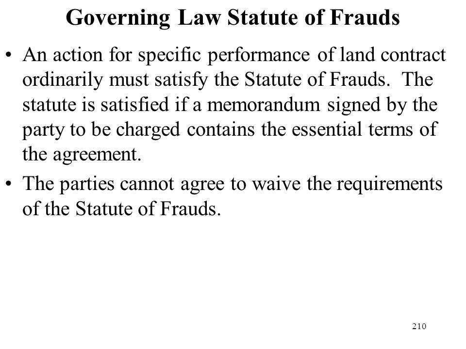 Governing Law Statute of Frauds