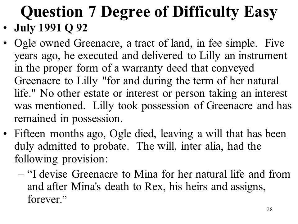 Question 7 Degree of Difficulty Easy