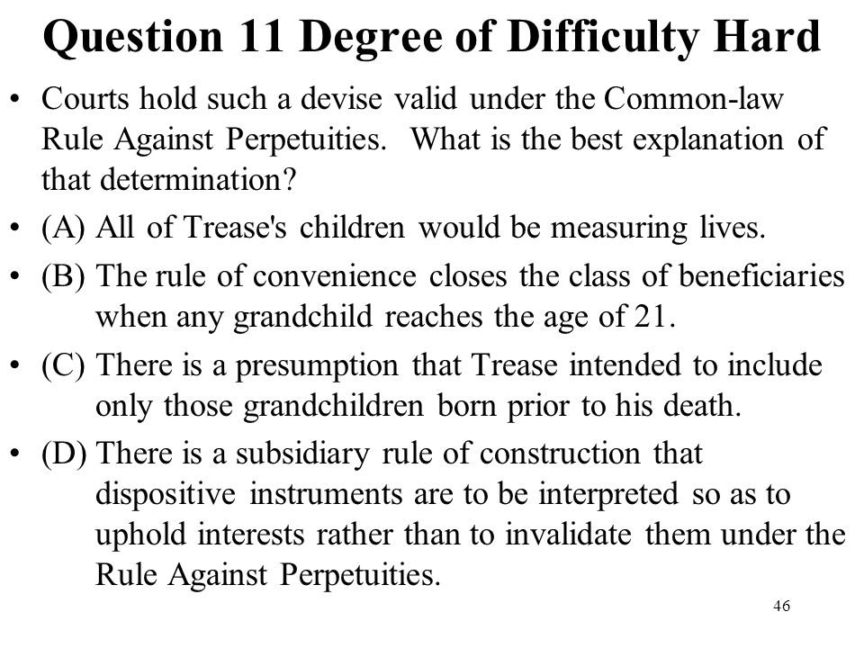 Question 11 Degree of Difficulty Hard