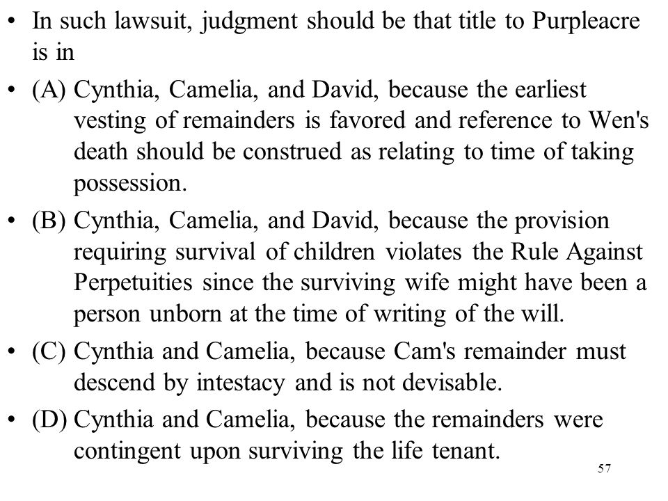 In such lawsuit, judgment should be that title to Purpleacre is in