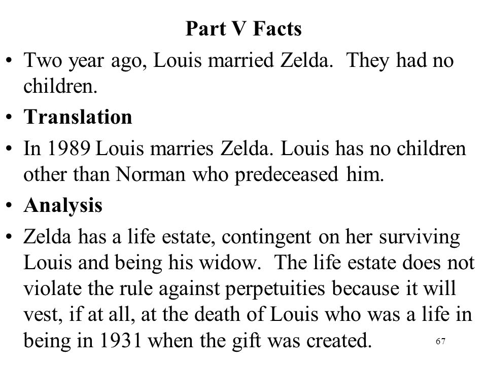 Part V Facts Two year ago, Louis married Zelda. They had no children. Translation.