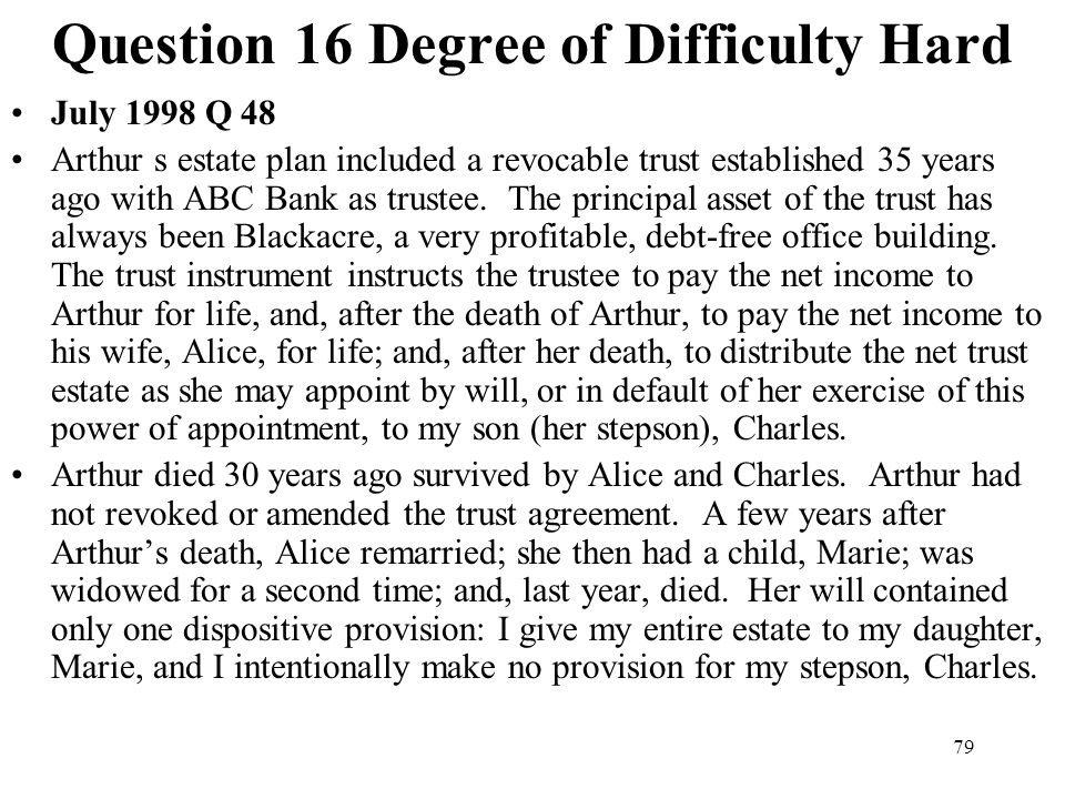 Question 16 Degree of Difficulty Hard