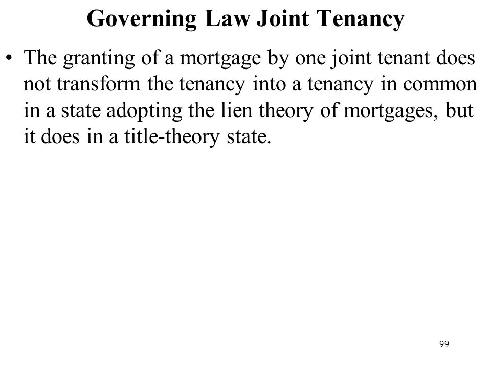 Governing Law Joint Tenancy