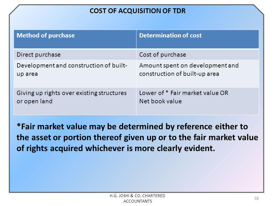 COST OF ACQUISITION OF TDR