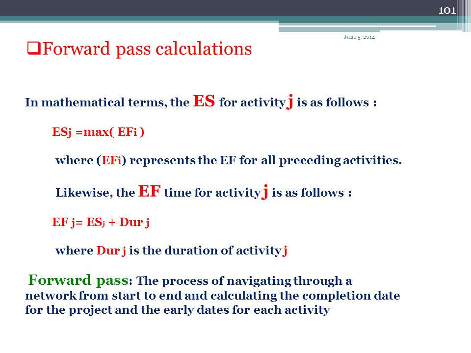 Forward pass calculations