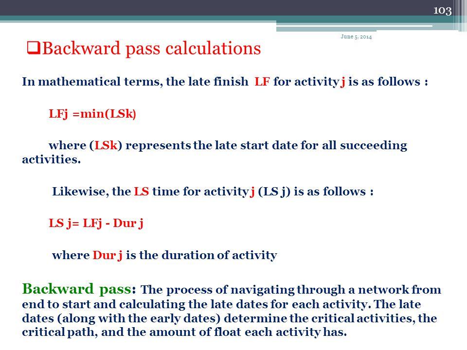 Backward pass calculations