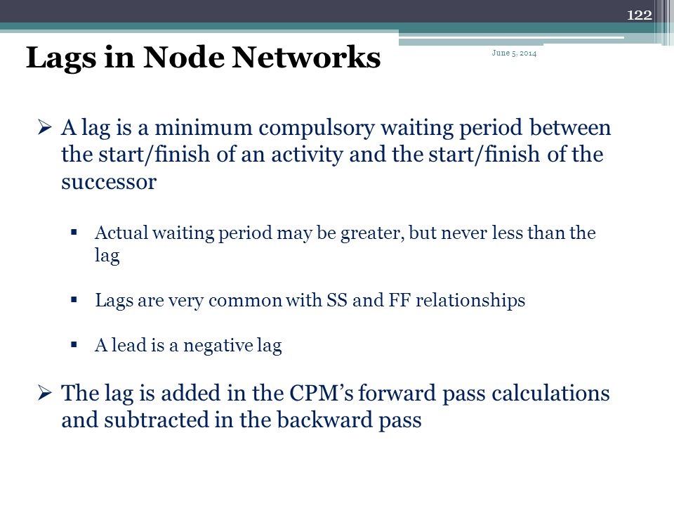 Lags in Node Networks April 1, 2017.