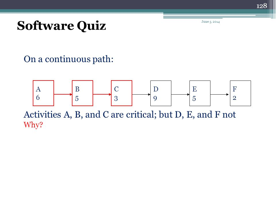 Software Quiz On a continuous path: