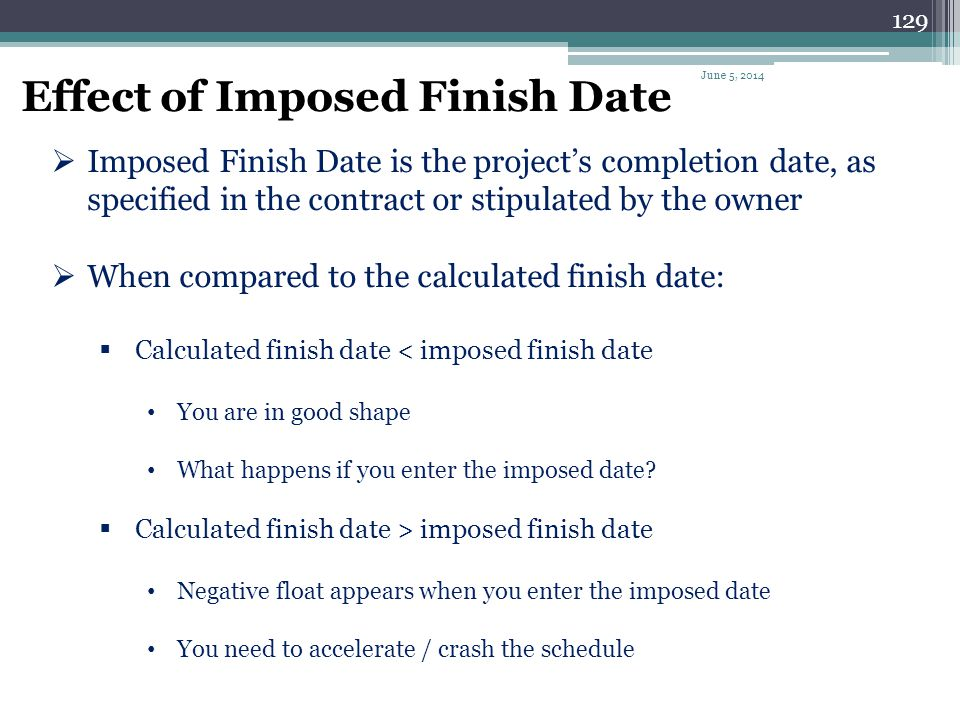 Effect of Imposed Finish Date