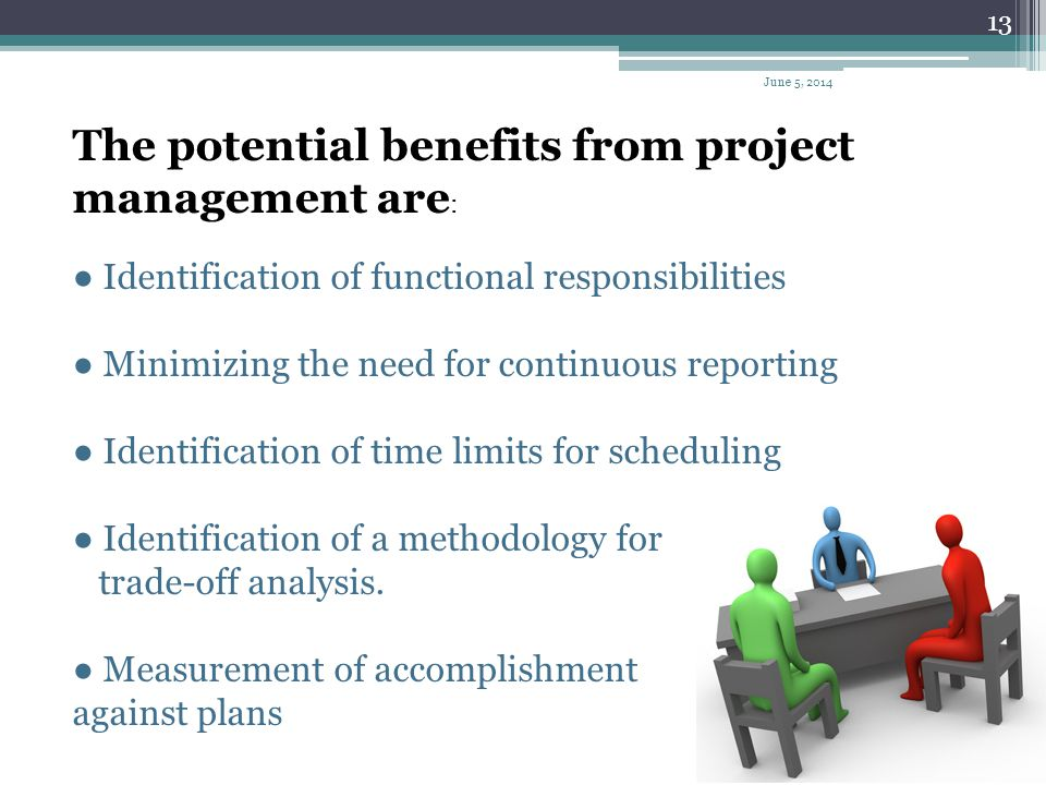 The potential benefits from project management are: