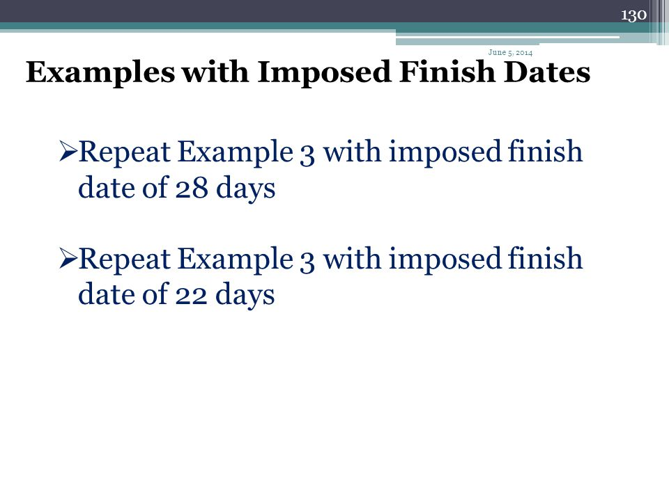 Examples with Imposed Finish Dates