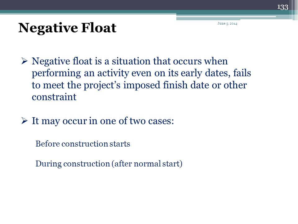 Negative Float April 1, 2017.
