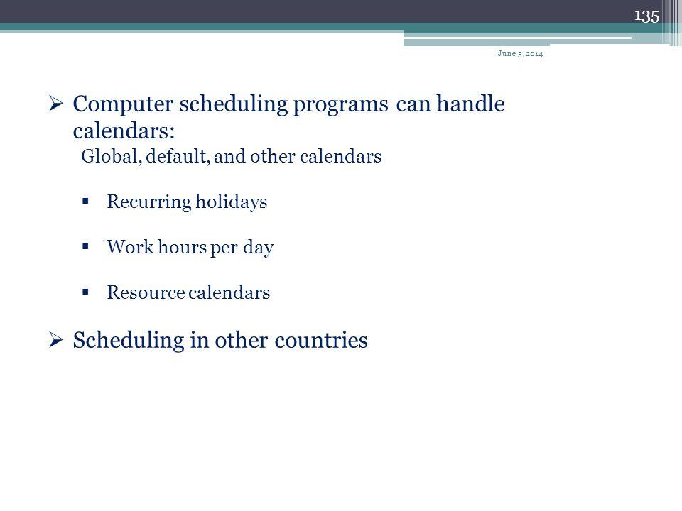 Computer scheduling programs can handle calendars: