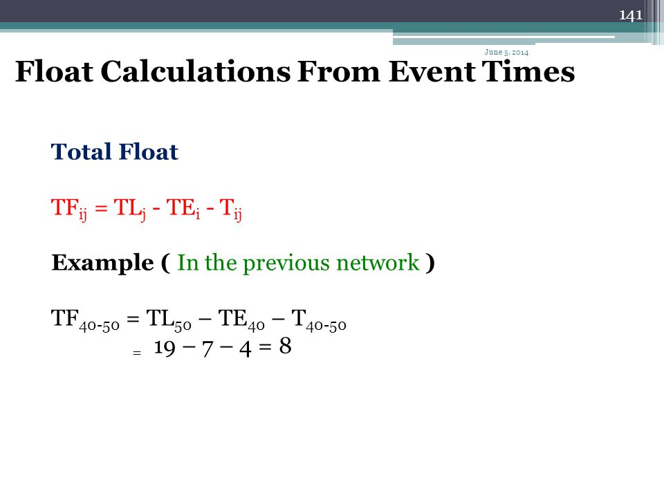 Float Calculations From Event Times