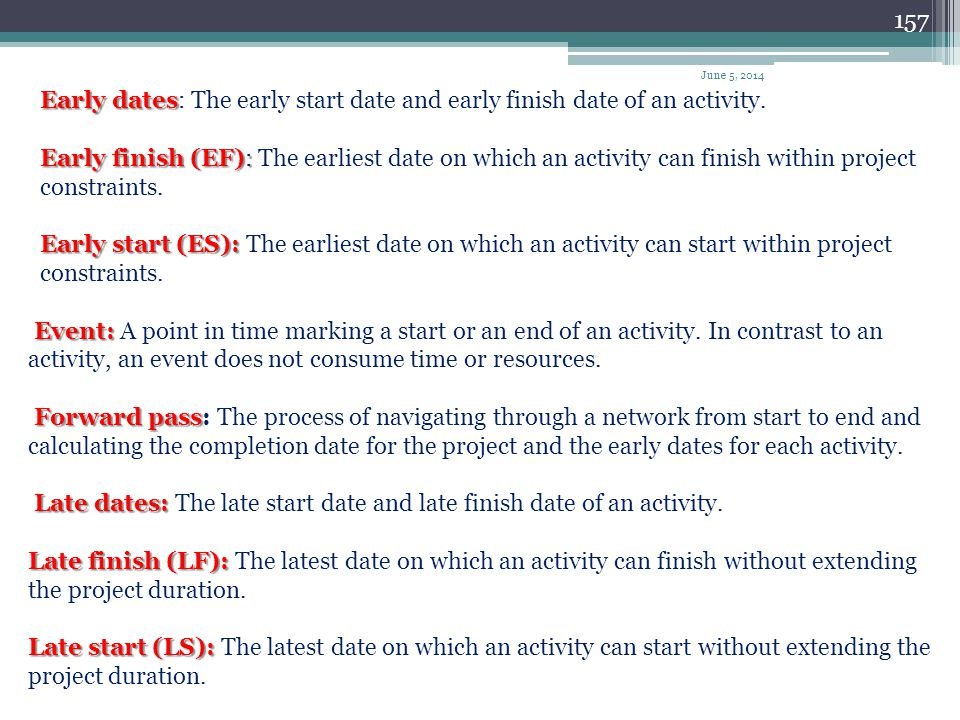Late dates: The late start date and late finish date of an activity.