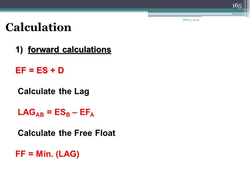 Calculation forward calculations EF = ES + D Calculate the Lag
