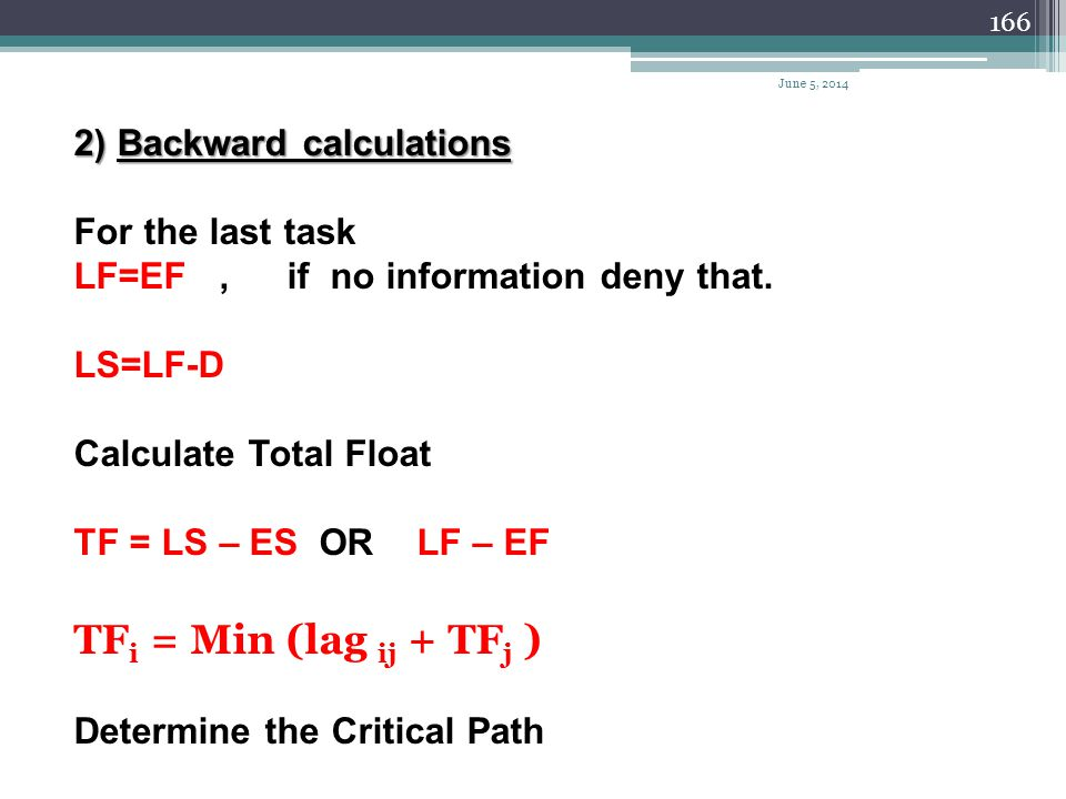 TFi = Min (lag ij + TFj ) 2) Backward calculations