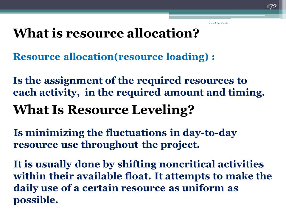 What is resource allocation