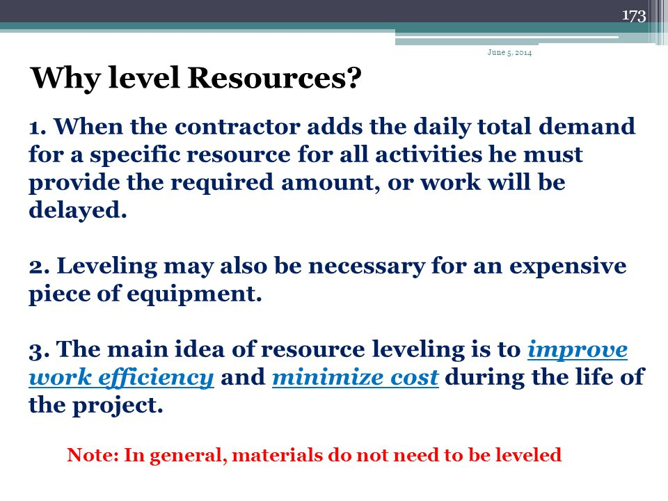 April 1, 2017 Why level Resources