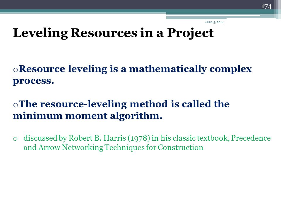Leveling Resources in a Project