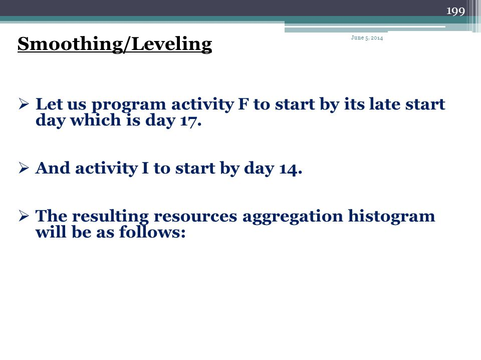 Smoothing/Leveling April 1, 2017. Let us program activity F to start by its late start day which is day 17.
