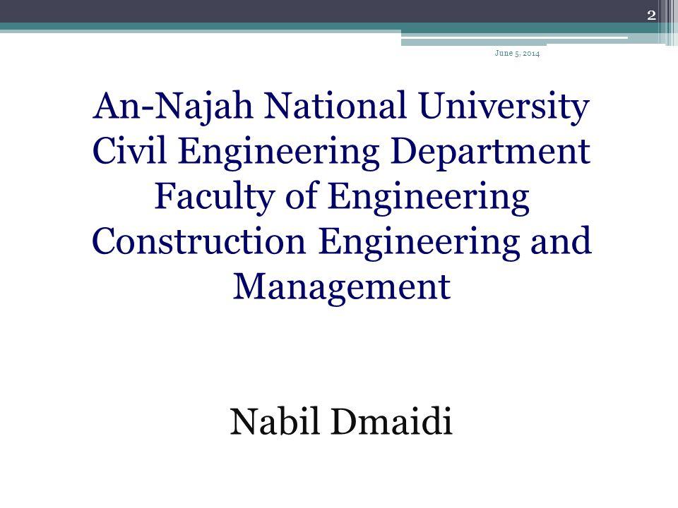 An-Najah National University Civil Engineering Department