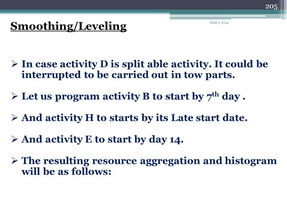 Smoothing/Leveling April 1, 2017. In case activity D is split able activity. It could be interrupted to be carried out in tow parts.