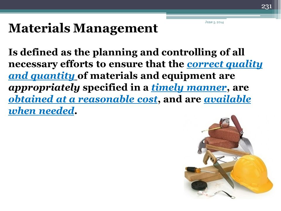 Materials Management April 1, 2017.