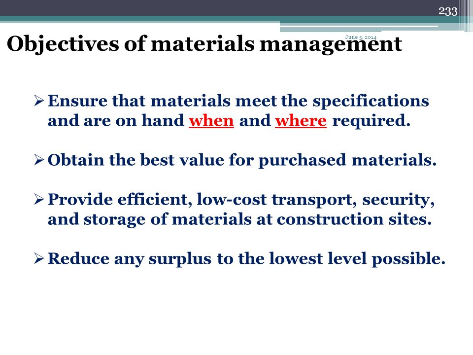 Objectives of materials management