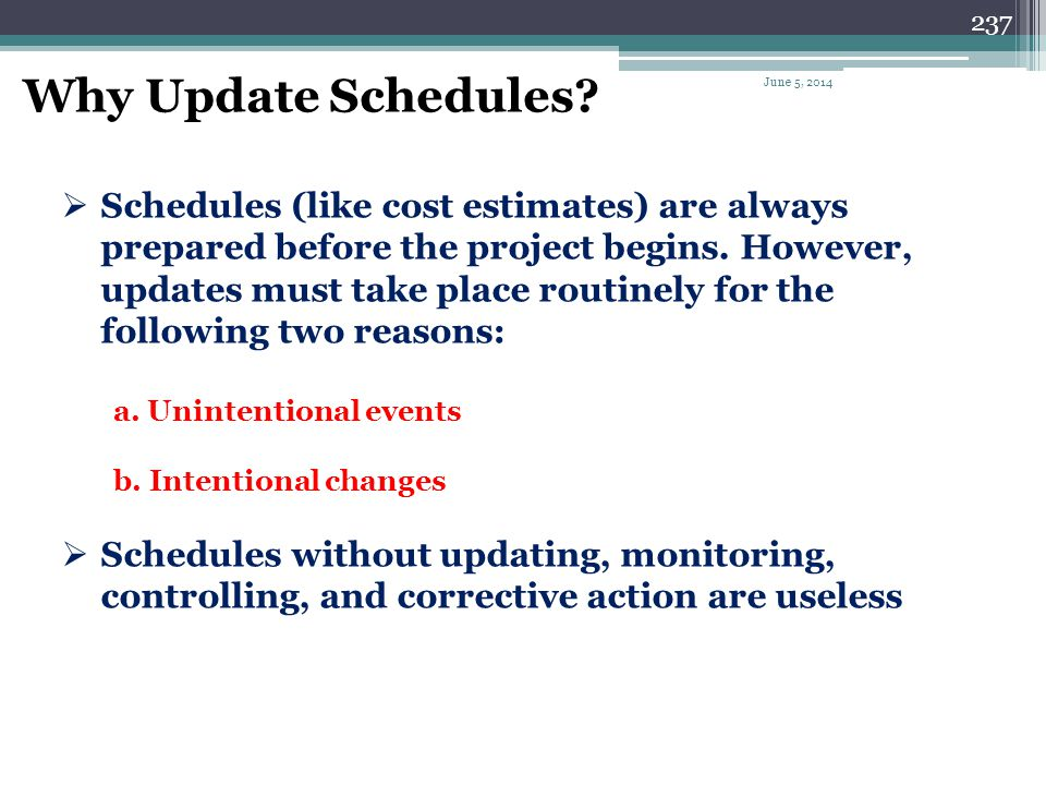 Why Update Schedules April 1, 2017.