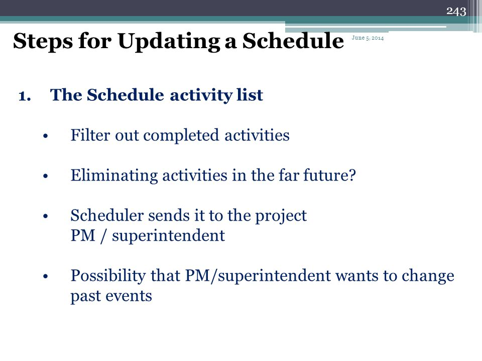 Steps for Updating a Schedule
