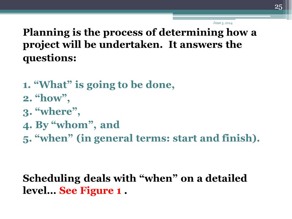 1. What is going to be done, 2. how , 3. where , 4. By whom , and