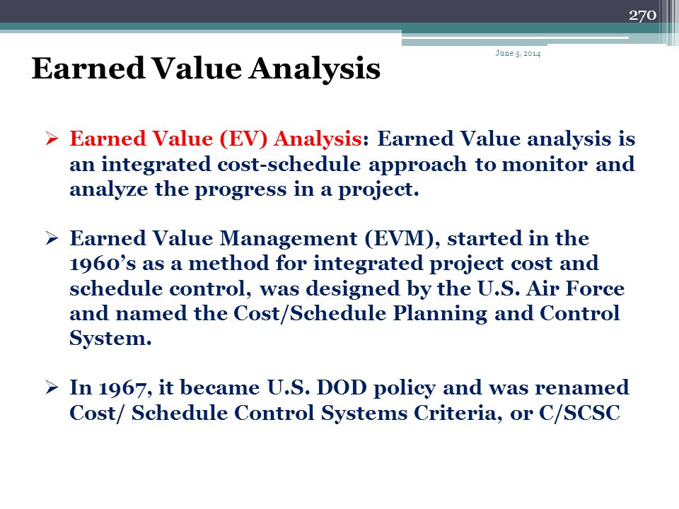 Earned Value Analysis April 1, 2017.