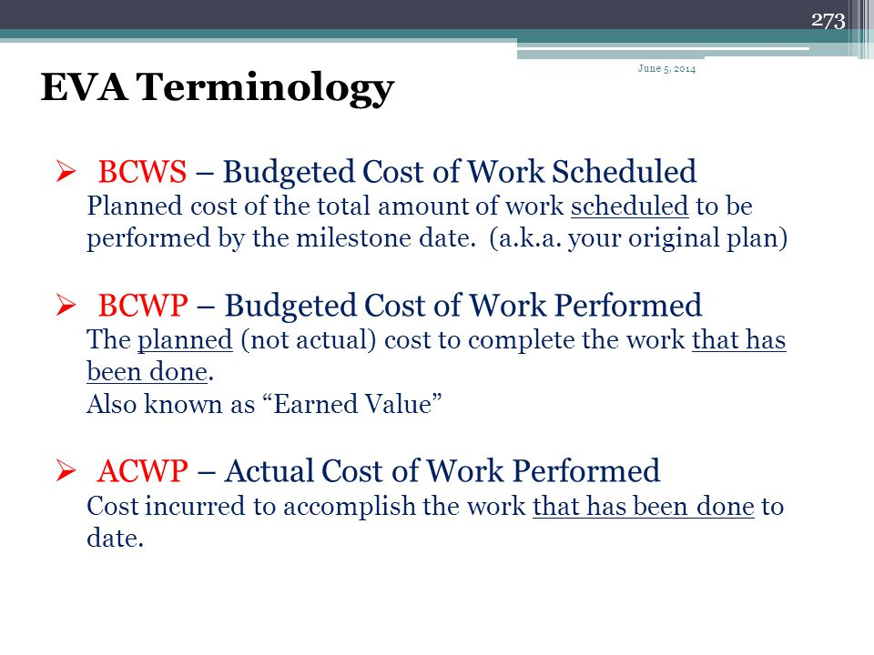 EVA Terminology BCWS – Budgeted Cost of Work Scheduled