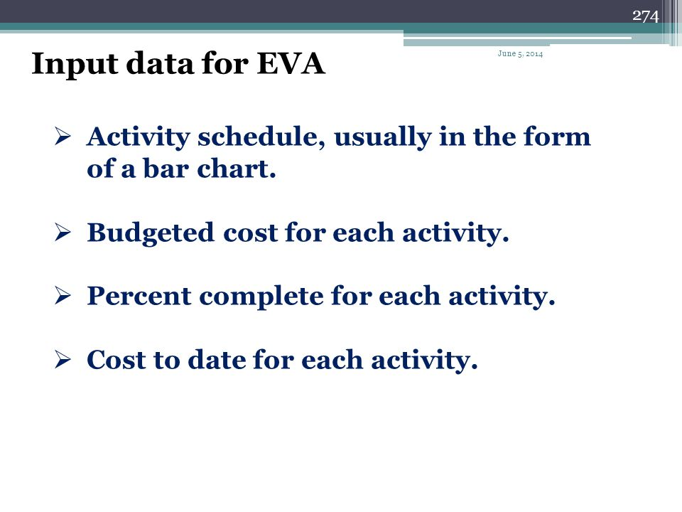 Input data for EVA April 1, 2017. Activity schedule, usually in the form of a bar chart. Budgeted cost for each activity.