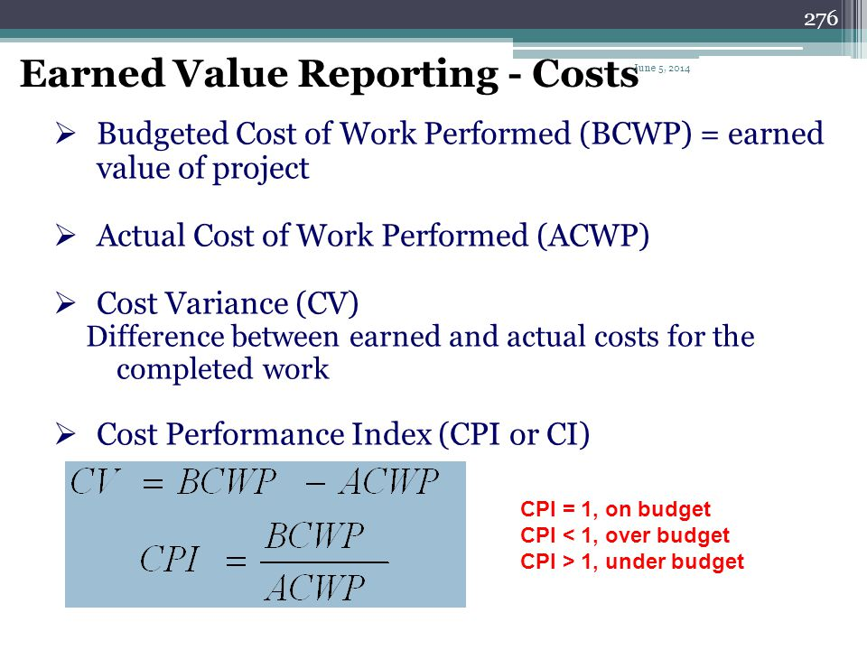 Earned Value Reporting - Costs
