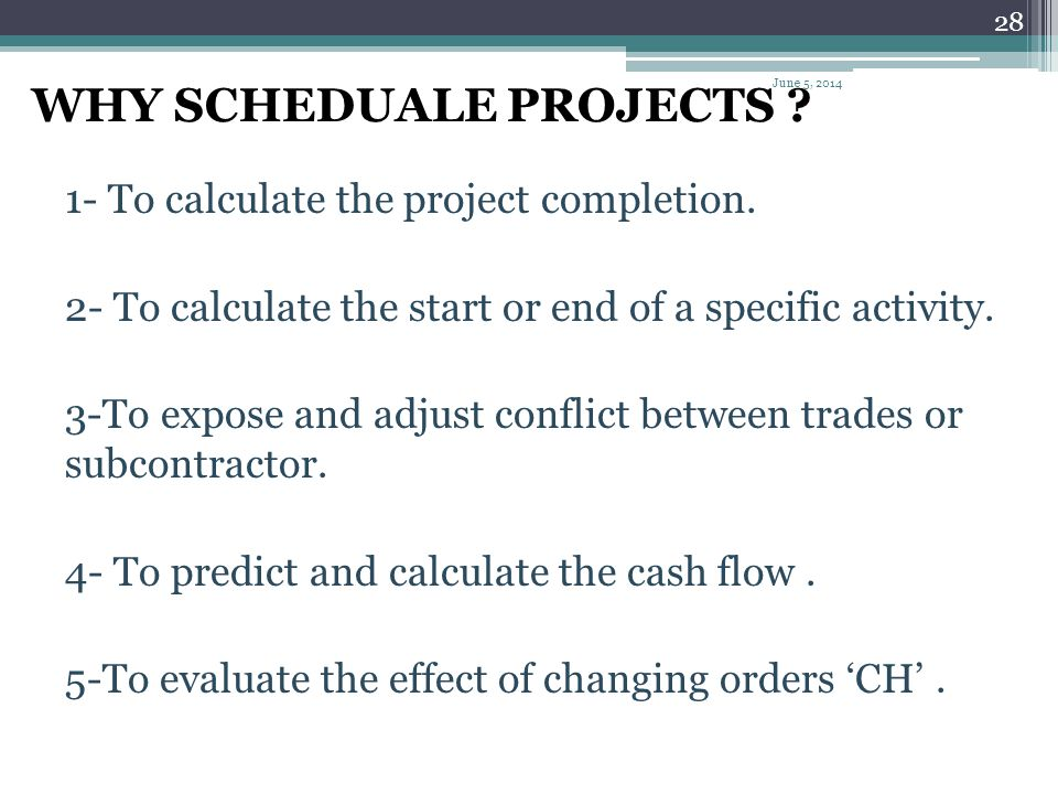 WHY SCHEDUALE PROJECTS