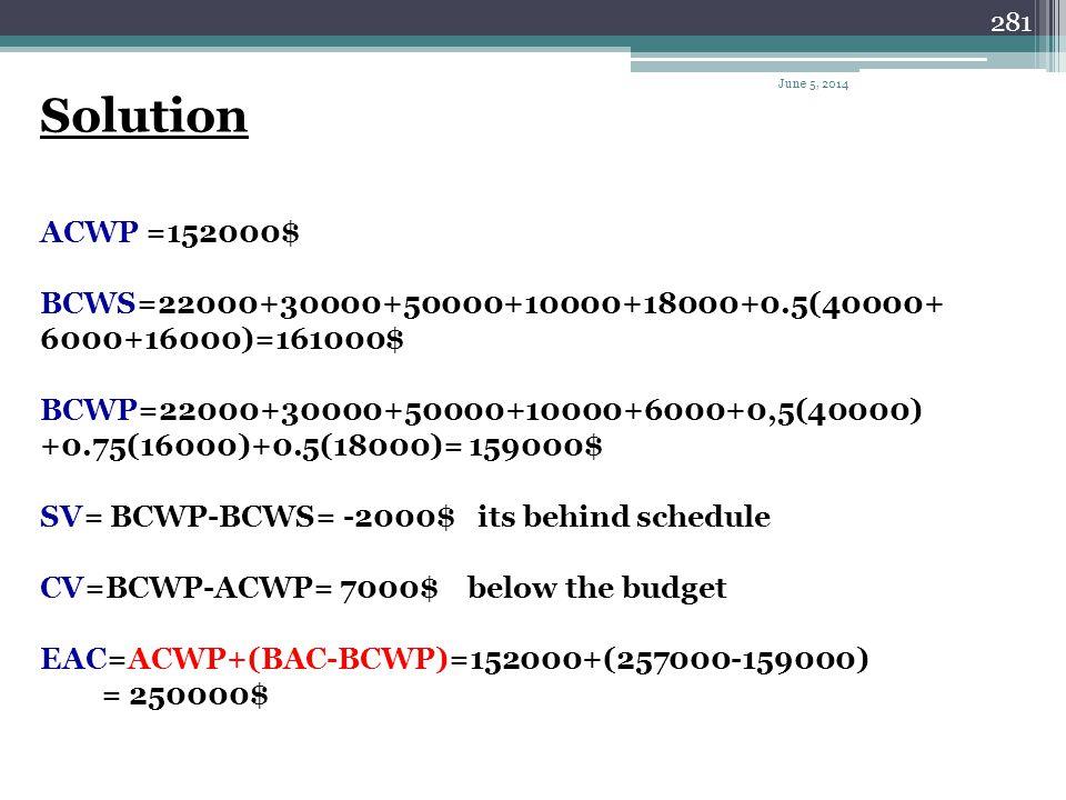 Solution ACWP =152000$ BCWS=22000+30000+50000+10000+18000+0.5(40000+