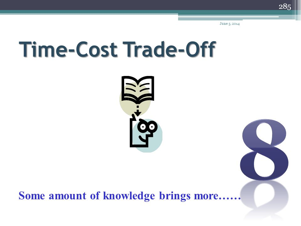 8 Time-Cost Trade-Off Some amount of knowledge brings more……