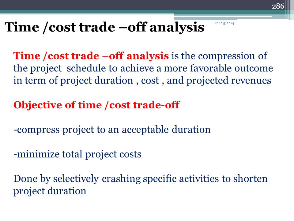 Time /cost trade –off analysis