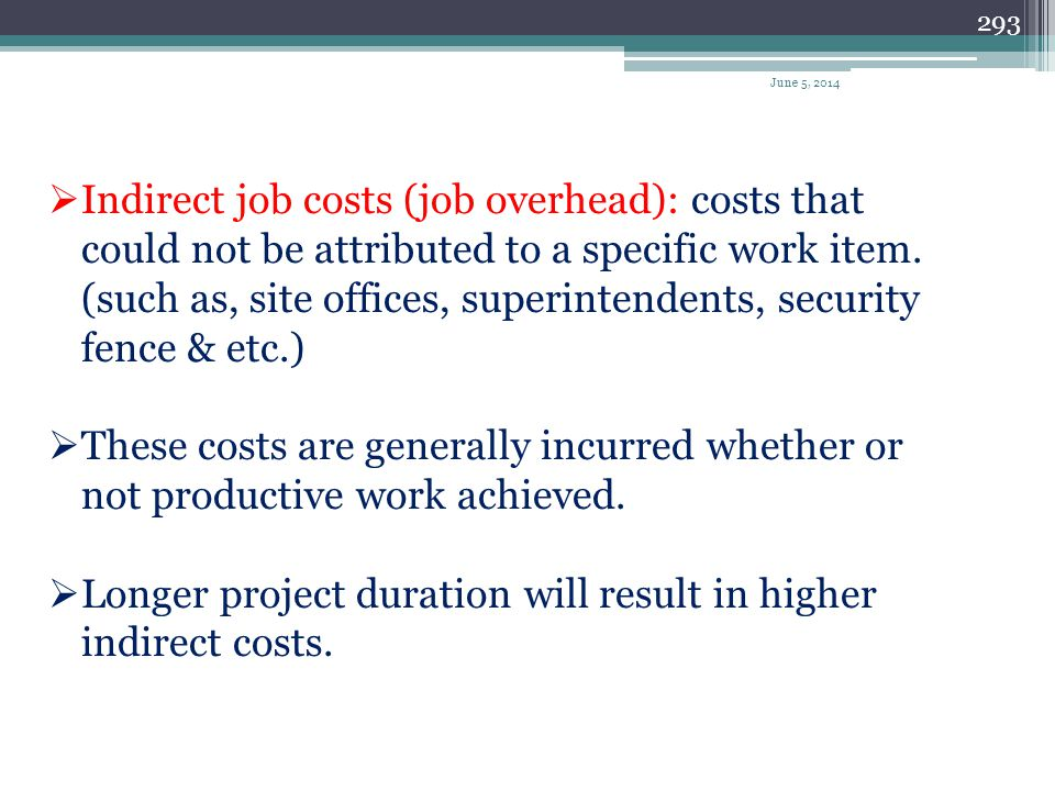 Longer project duration will result in higher indirect costs.