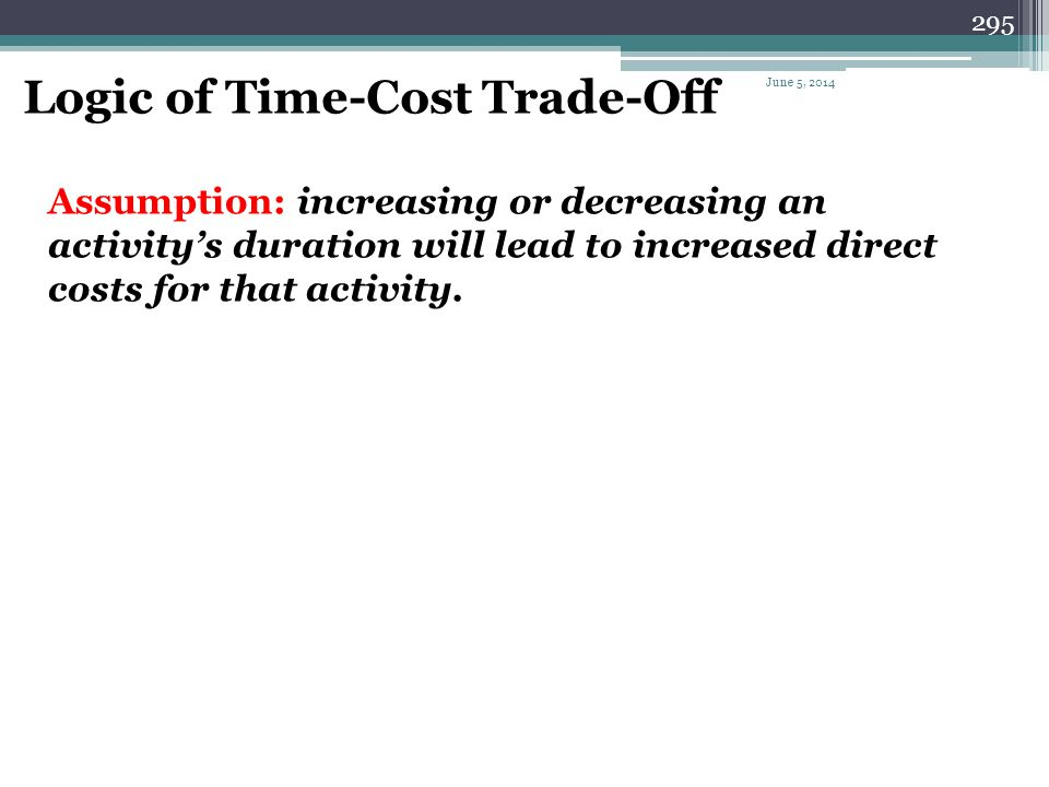 Logic of Time-Cost Trade-Off