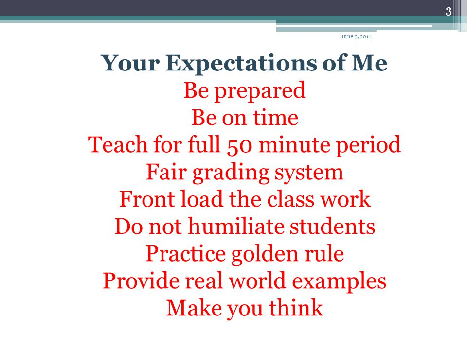 Your Expectations of Me