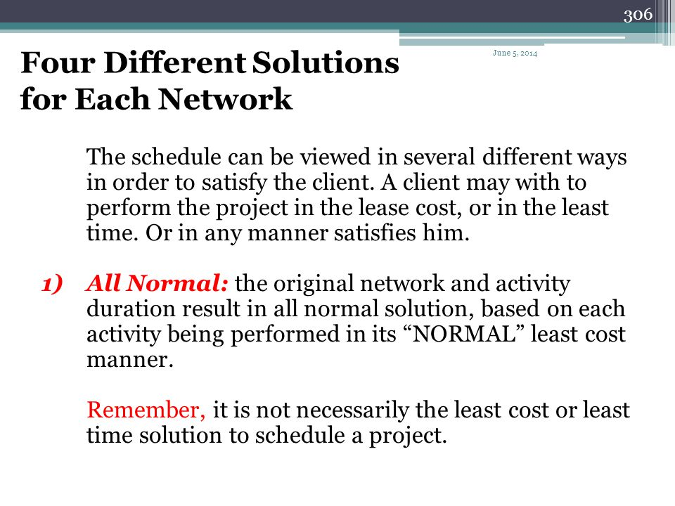 Four Different Solutions for Each Network