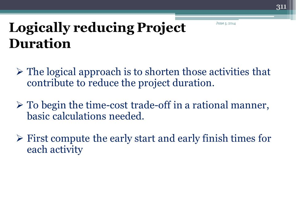 Logically reducing Project Duration