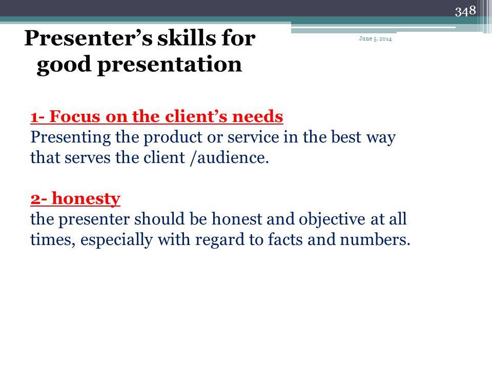 Presenter's skills for good presentation