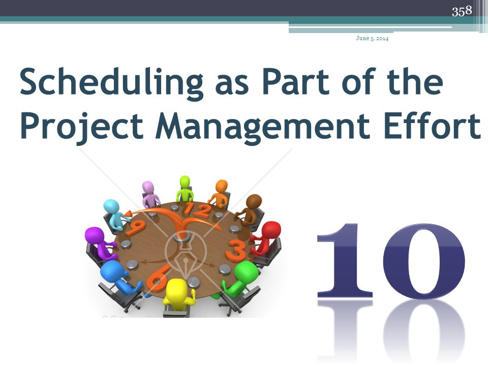 April 1, 2017 Scheduling as Part of the Project Management Effort 10