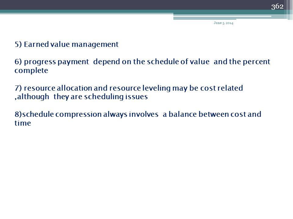 5) Earned value management